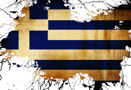 Greek flag with some grunge effects and lines photo