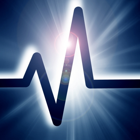 heart beat on display on a blue background photo