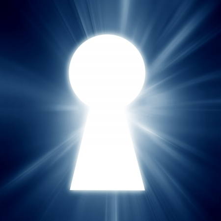 key hole on a soft blue background photo