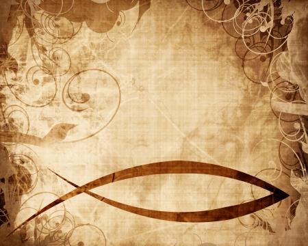 羊皮紙や紙の背景にキリスト教の魚のシンボル 写真素材