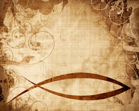 christian fish symbol on a parchment or paper background Stockfoto