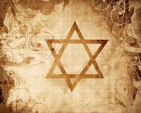 star of david printed on a grunge paper texture photo