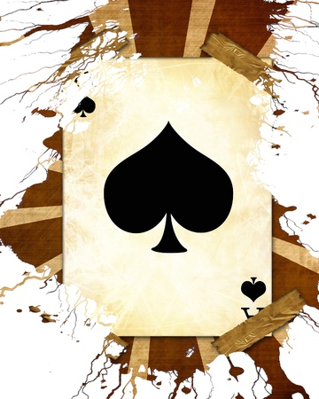 old playing card on a vintage background Stock Photo - 21883413
