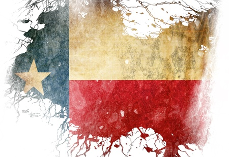 Texan flag  with some grunge effects and lines photo