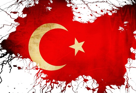 Turkish flag  with some grunge effects and lines photo