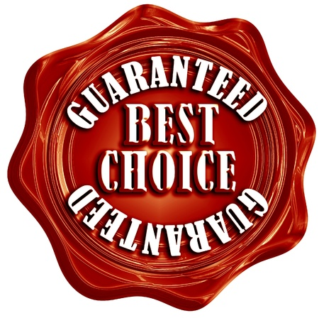 red wax seal with best choice guaranteed written on it photo