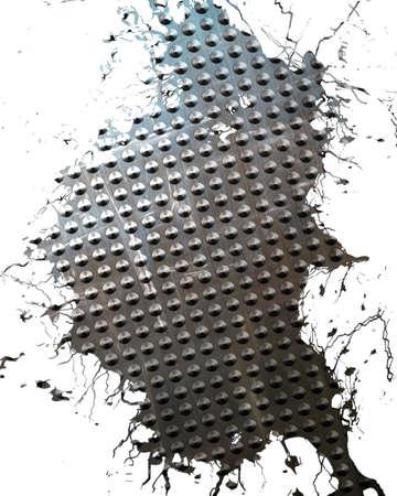brushed aluminium: Brushed aluminium metal plate with some reflection on it