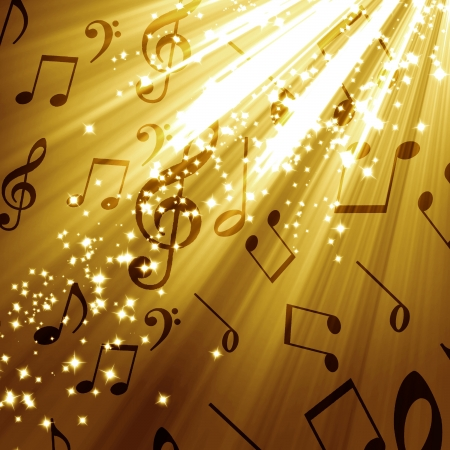 pc tune: music notes on a soft golden glittering background Stock Photo