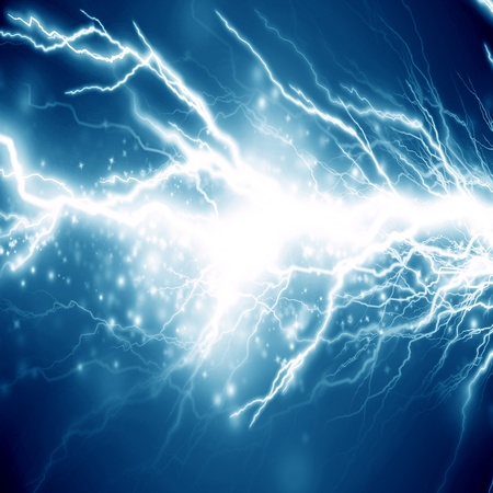 electrical sparks on a dark blue background photo