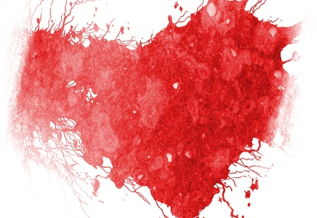 femme romantique: grunge c?ur rouge sur fond blanc uni