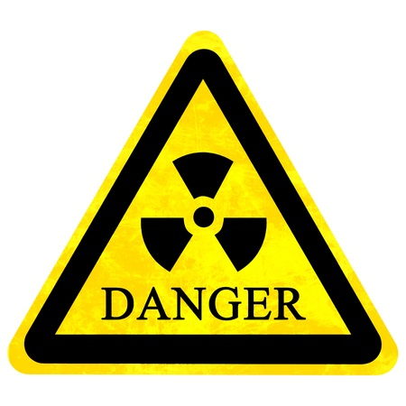 yellow nuclear sign isolated on a solid white background Stock Photo - 22103520