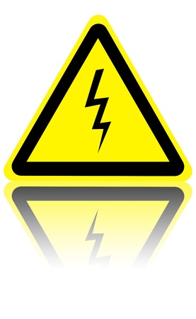 electrocution: high voltage danger sign isolated on a solid white background Stock Photo