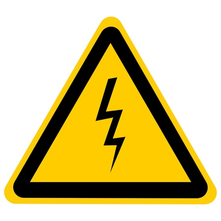 high voltage danger sign isolated on a solid white background Stock Photo - 22104623