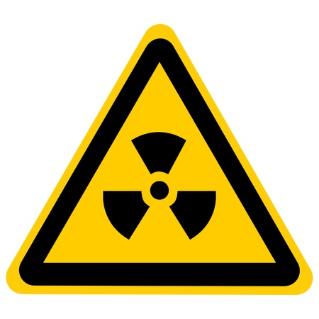 yellow nuclear sign isolated on a solid white background Stock Photo - 22104624