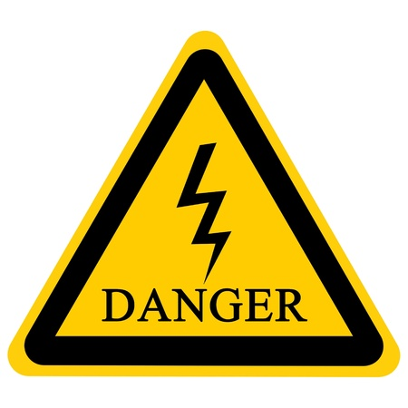 high voltage danger sign isolated on a solid white background photo