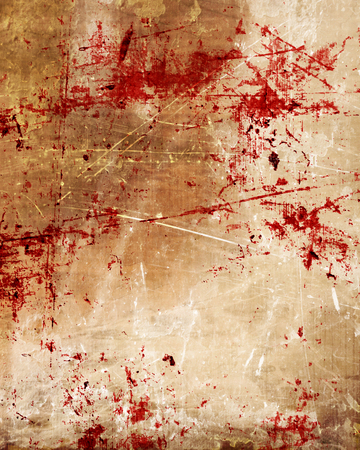 bloodied: grunge background with some red blood splatter on it Stock Photo