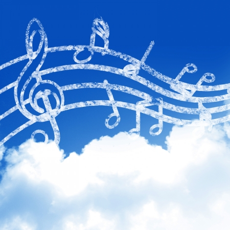 retro music: blue sky with clouds and some music notes Stock Photo