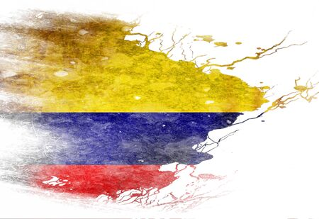 Colombian flag  with some grunge effects and lines photo
