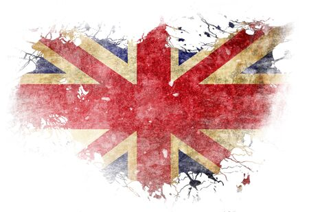 union jack: UK flag  with some grunge effects and lines Stock Photo