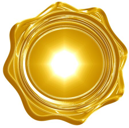 gold wax seal isolated on a solid white background photo