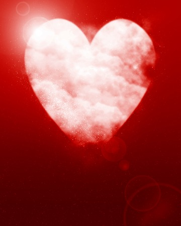 heartache: Heart shaped moon on a dark red background