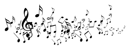 music notes: black music notes on a solid white background