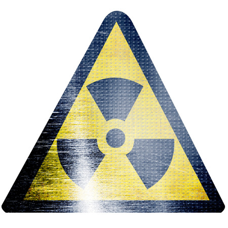 isotope: black and yellow nuclear sign isolated on a white background Stock Photo