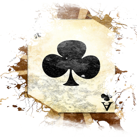 grunge playing card on a soft brown background photo