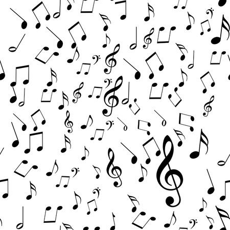 black music notes on a solid white background photo