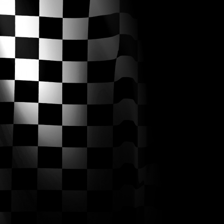 black and white racing flag with some smooth folds in it Stock Photo - 22226462