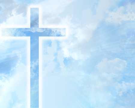 jesuit: christian cross in a blue sky with some clouds