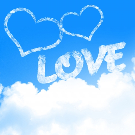 love is in the air (with clouds and blue background) Stock Photo - 22347570