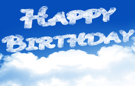 clouds in a blue sky with the words happy birthday photo