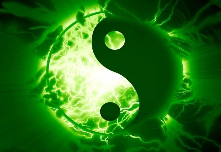 yin yang teken op een levendige achtergrond
