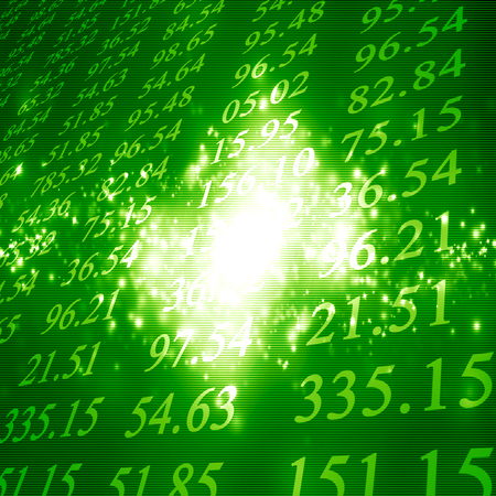 electronic stock numbers on a fresh green background Stock Photo - 22347591