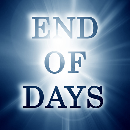 mayan prophecy: end of days on a soft blue background