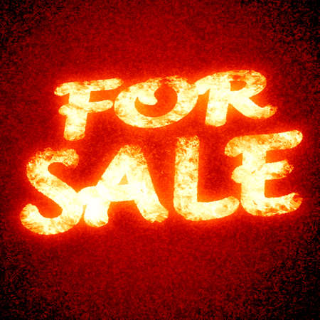 (for) sale: text written on a glowing red background photo