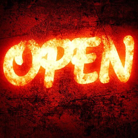 open written on a glowing red background photo