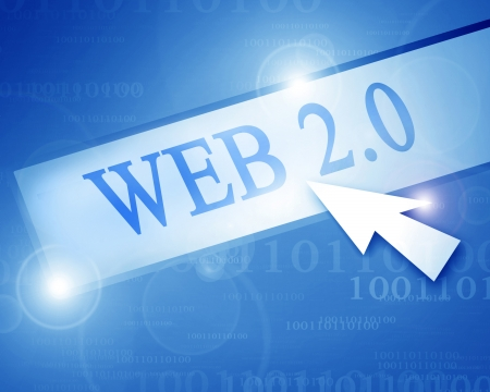 web 2 0: blue internet background with some bits and bytes Stock Photo