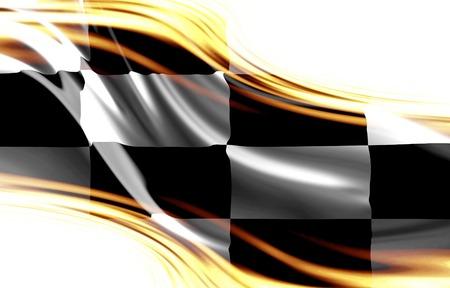 黒と白のいくつかの滑らかなひだにフラグをレース