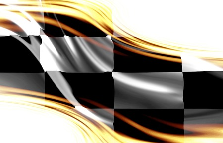 cuadros blanco y negro: compitiendo con la bandera en blanco y negro con algunos pliegues suaves en ella Foto de archivo
