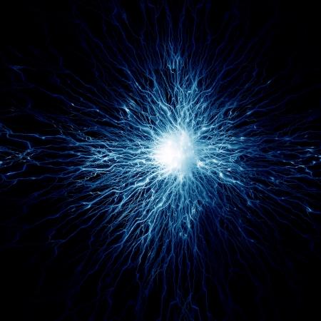 脳細胞の暗い背景に電気パルスを撮影