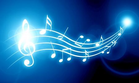 それのいくつかの音符をソフトの青色の背景色 写真素材