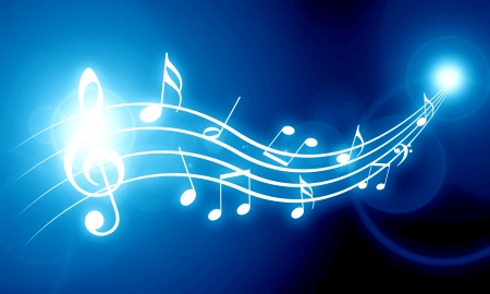 soft blue background with some music notes on it Stok Fotoğraf - 22347780
