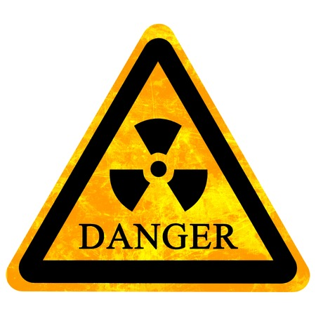 yellow nuclear sign isolated on a solid white background Stock Photo - 22347798