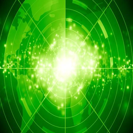 green radar screen on a dark blackground photo