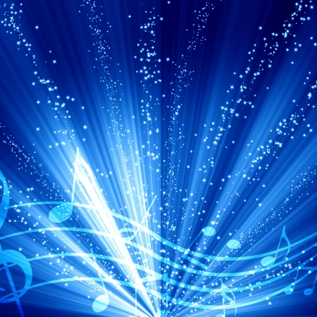 it background: soft blue background with some music notes on it