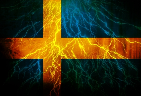 Swedish flag waving in the wind with some spots and stains Stock Photo