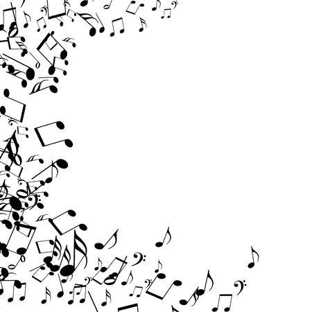 black music notes isolated on a solid white background photo