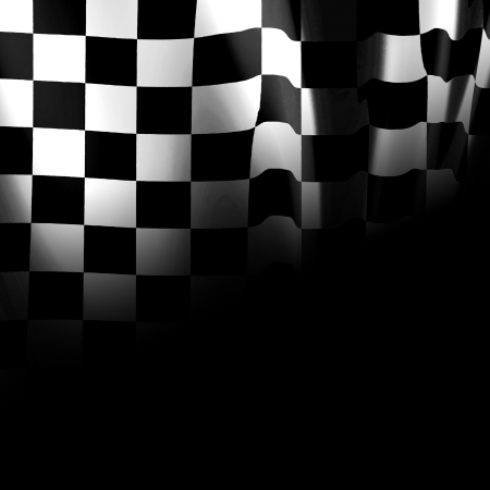black and white racing flag with some smooth folds in it Stock Photo - 22347881